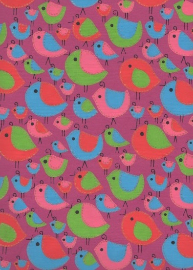 "India Sewn Birds Red, Blue, Pink on Puple, 22"" x 30"""