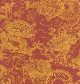 "Nepal Dragon Beasts, Yellow on Burnt Orange, 20"" x 30"""