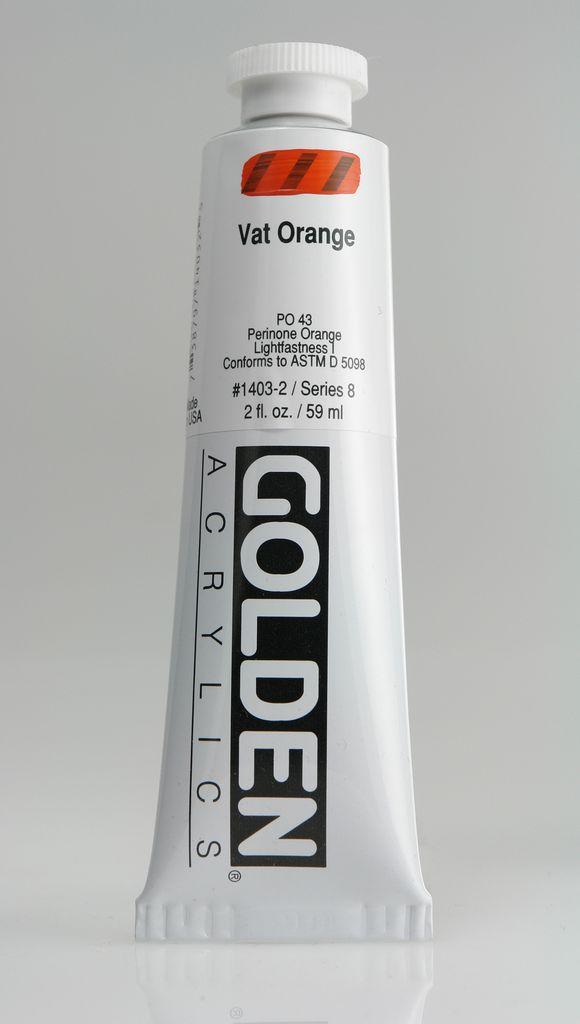 Golden, Heavy Body Acrylic Paint, Vat Orange, Series 8, Tube, 2fl.oz.