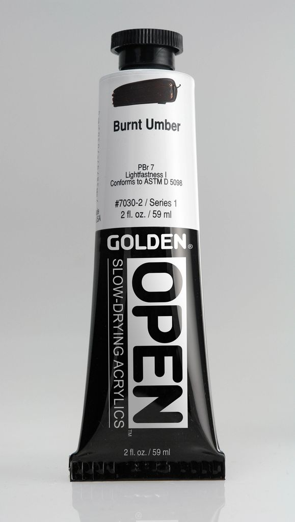 Golden OPEN, Acrylic Paint, Burnt Umber, Series 1, Tube (2fl.oz.)