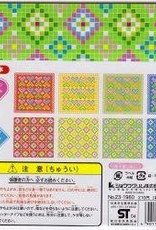 "Japan Origami, 6"" x 6"", Mosaic (Hearts & Diamonds), 2 Different Patterns in 4 Different Colors, 24 Total Sheets"