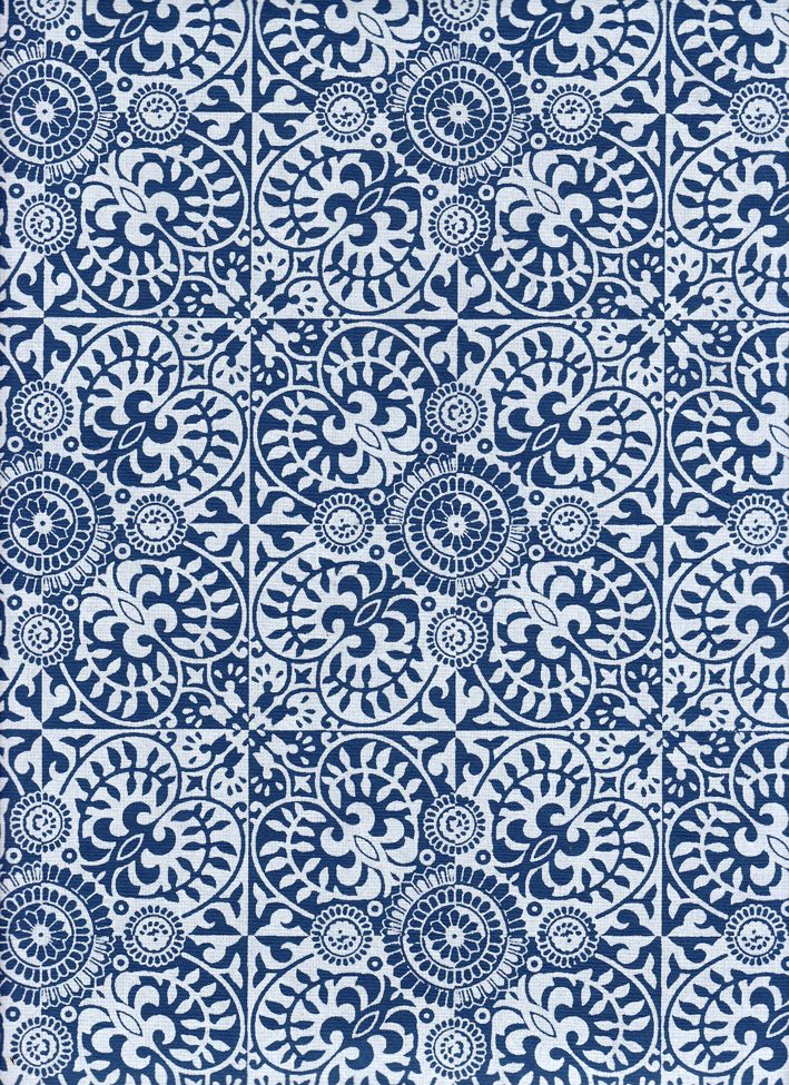 """India Indian Ornate Mosaic Pattern Blue and White, 22"""" x 30"""""""