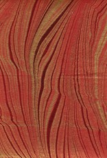 "India Indian Marble, Red with Gold, Feather Design, 22"" x 30"""