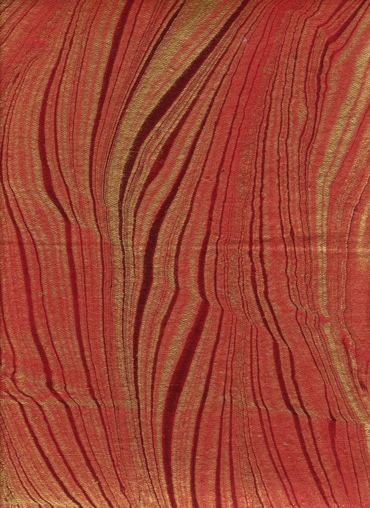 """India Indian Marble, Feather Design, Fire Red with Gold, 22"""" x 30"""""""