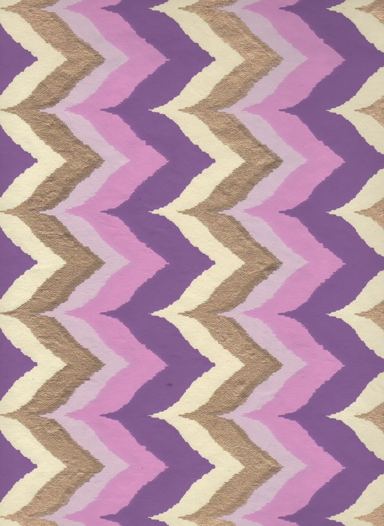 """India Wavy Chevron with Purple, Pink and Gold, 22"""" x 30"""""""