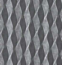 """India Indian Waves, Silver and Grey on Black, 22"""" x 30"""""""