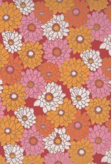 "India Zinnia Garden with Gold on Crimson 22"" x 30"" Limited Available"
