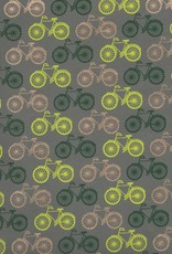 "India Bicycles Yellow, Green, Gold on Grey, 22"" x 30"""