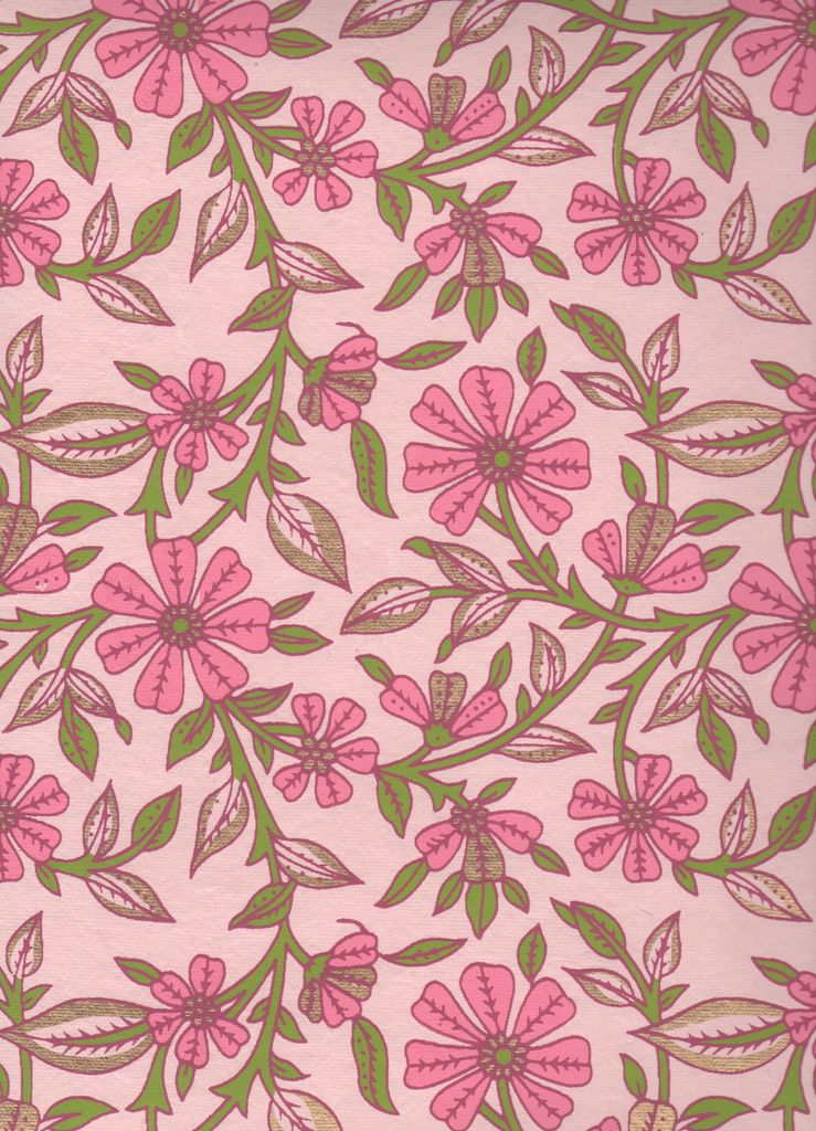 """India Floral Pattern with Pink and Green, 22"""" x 30"""""""