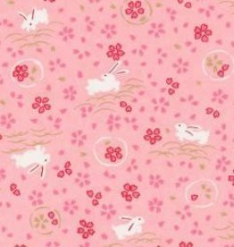"Japan Yuzen 6282, 19"" x 25"", Bunnies on Pink"