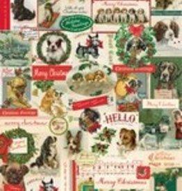 "Italy Cavallini Print, Christmas Dogs, 20"" x 28"""