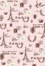 """Italy Cavallini Print, Paris Pink, 20"""" x 28"""""""