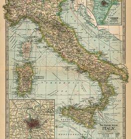 "Italy Cavallini Print, Italy Map, 20"" x 28"""