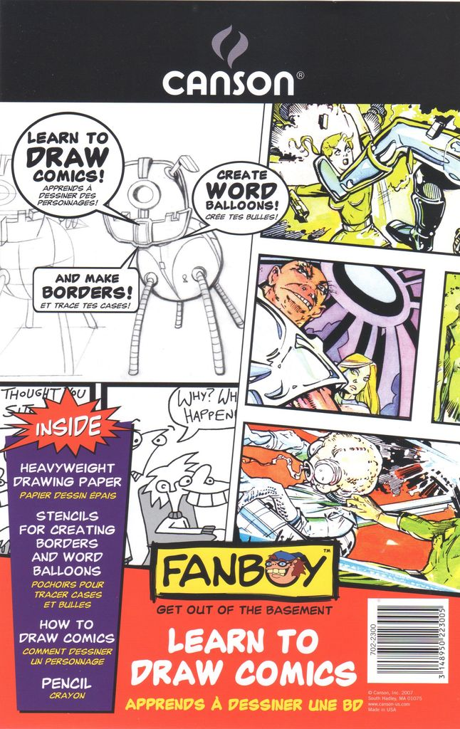 "Domestic Canson, Fanboy, Learn to Draw Comics, 6.75"" x 10.5"", 12 Blank Comic Book Sheets, Stencils and a Pencil"