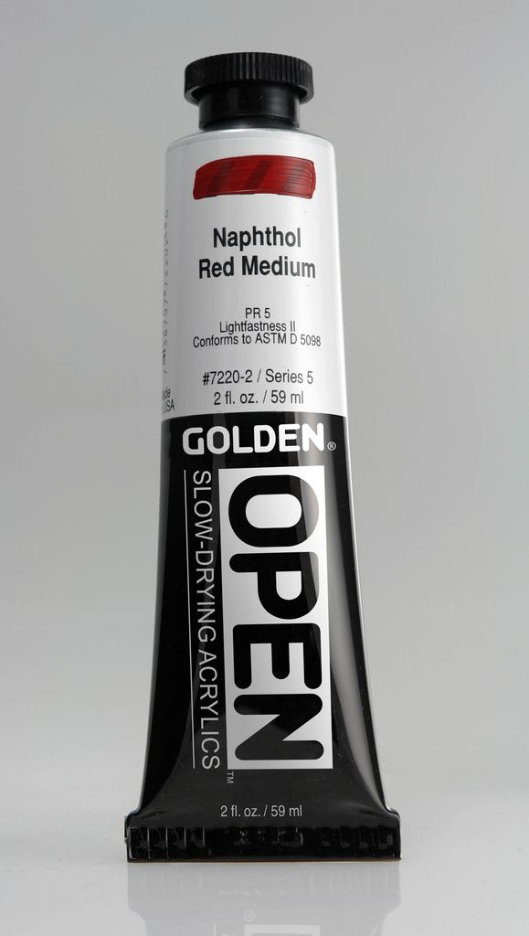 Golden OPEN, Acrylic Paint, Naphthol Red Medium, Series 5, Tube (2fl.oz.)