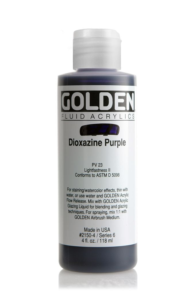 Golden Fluid Acrylic Paint, Dioxazine Purple, Series 6, 4fl.oz, Bottle