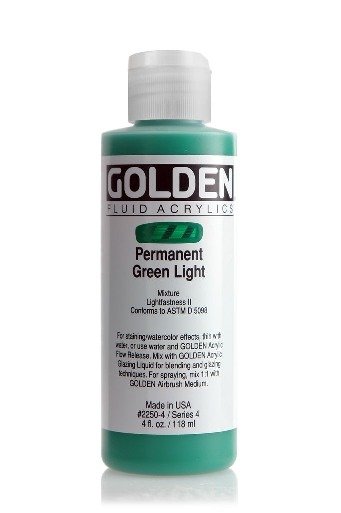 Golden Fluid Acrylic Paint, Permanent Green Light, Series 4, 4fl.oz, Bottle