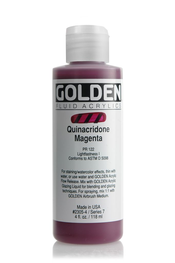 Golden Fluid Acrylic Paint, Quinacridone Magenta, Series 7, 4fl.oz, Bottle