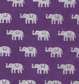 """Nepal Lokta Elephants on Violet, 20"""" x 30"""""""