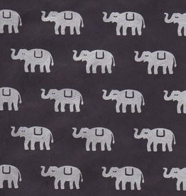 "Nepal Lokta Elephants on Black, 20"" x 30"""