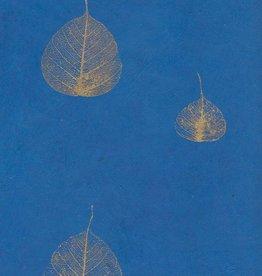 "Nepal Lokta Bodhi Leaves Blue, 20"" x 30"""