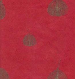 "Nepal Lokta Bodhi Leaves Red, 20"" x 30"""