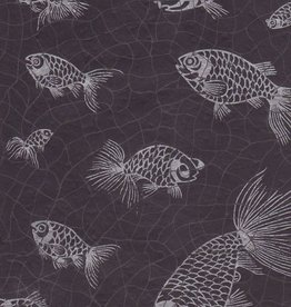 "Nepal Lokta Fish on Black,  22"" x 30"""