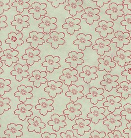 "Nepal Lokta Cherry Blossoms on Mint, 20"" x 30"" Limited Availability"