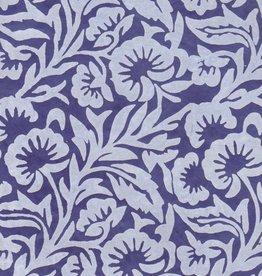 "Nepal Lokta White Floral on Blue, 20"" x 30"""