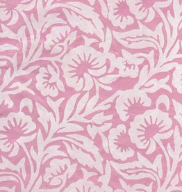 "Nepal Lokta White Floral on Pink, 20"" x 30"""
