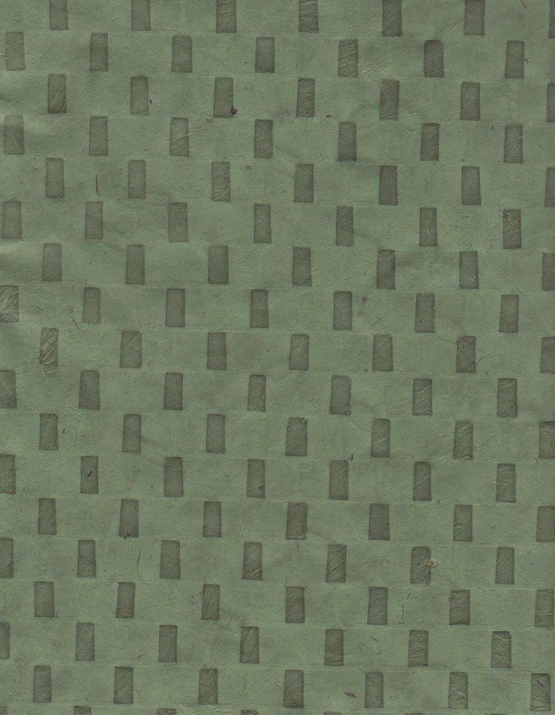 "Nepal Lokta Bricks on Green, 20"" x 30"" Limited Availability"