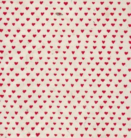 """Nepal Lokta Sweetheart, White with Red, 20"""" x 30"""""""