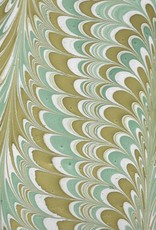 "India Indian Marble, Sea Green, Mustard on Natural, Comb Design, 22"" x 30"""