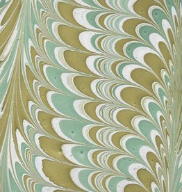 "India Indian Marbled Feather, Green with Yellow Ochre on Natural, 22"" x 30"""