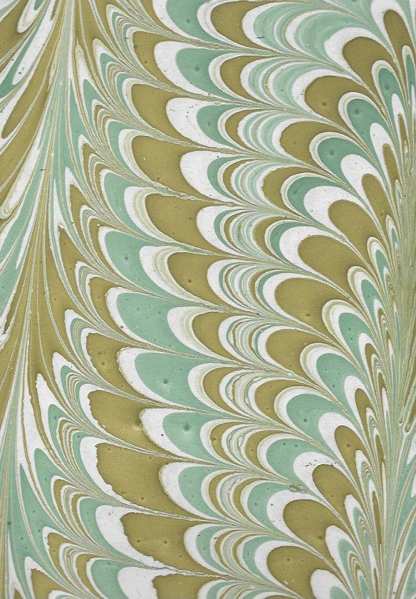 """India Indian Marble, Seagreen, Mustard on Natural, Comb Design, 22"""" x 30"""""""
