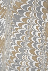 """India Indian Marble, Comb Design, Grey, Light Brown on Natural, 22"""" x 30"""""""