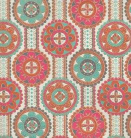 """India Indian Flower Mandala with Turquoise, Orange, Red, Gold on Cream, 22"""" x 30"""""""