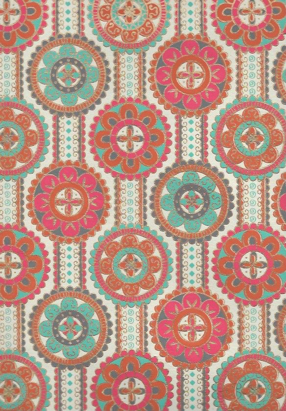 "India Indian Flower Mandalas on Ribbons with Orange, Red, Turquoise, Gold on Cream, 22"" x 30"""