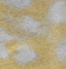 """Lokta Dappled Metallic Silver Spots on Gold, 20"""" x 30"""""""
