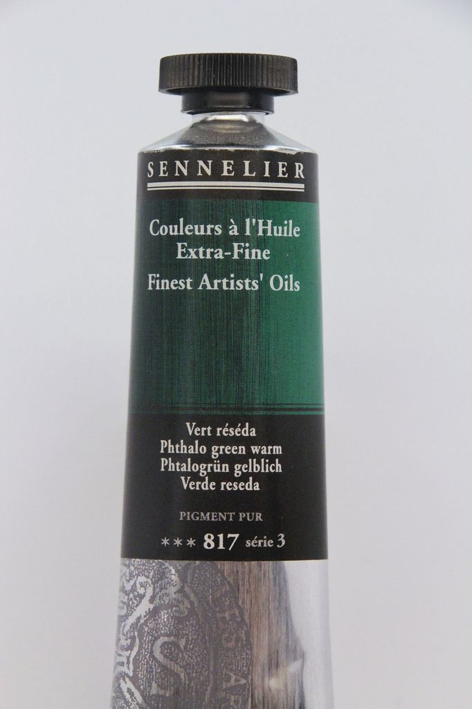 France Sennelier, Fine Artists' Oil Paint, Phthalo Green Warm, 817, 40ml Tube, Series 3