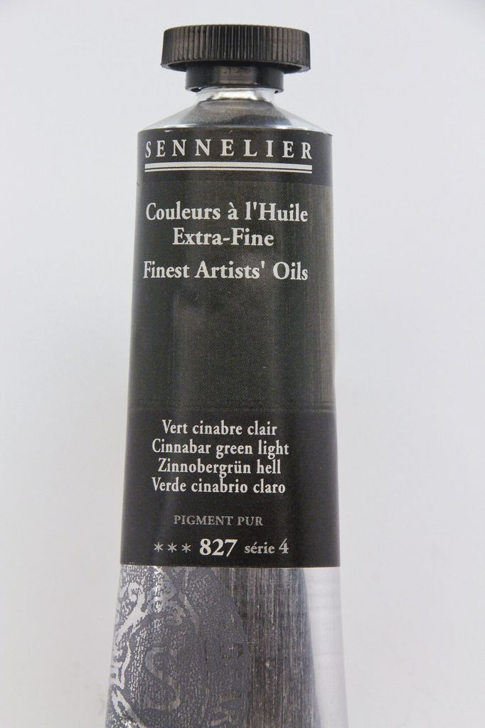 France Sennelier, Fine Artists' Oil Paint, Cinnabar Green Light, 827, 40ml Tube, Series 4