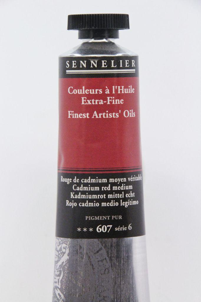 France Sennelier, Fine Artists' Oil Paint, Cadmium Red Meduim, 607, 40ml Tube, Series 6