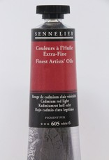 France Sennelier, Fine Artists' Oil Paint, Cadmium Red Light, 605, 40ml Tube, Series 6