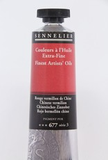 France Sennelier, Fine Artists' Oil Paint, Chinese Vermilion, 677, 40ml Tube, Series 3