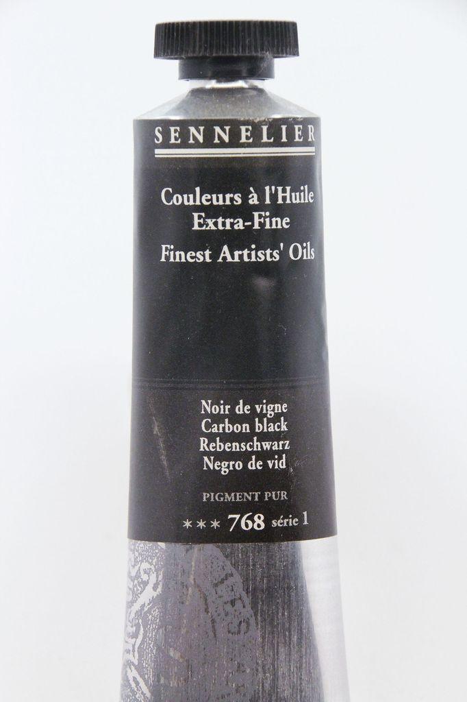 France Sennelier, Fine Artists' Oil Paint, Carbon Black, 768, 40ml Tube, Series 1