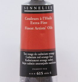 France Sennelier, Fine Artists' Oil Paint, Cadmium Red Orange Hue, 615, 40ml Tube, Series 4