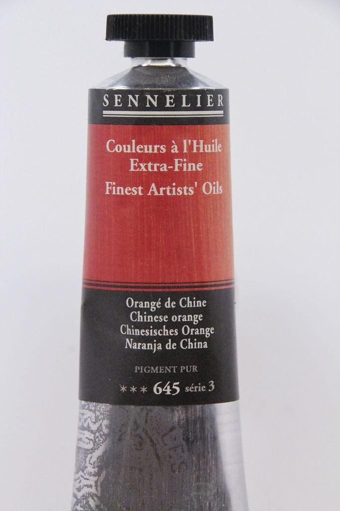 France Sennelier, Fine Artists' Oil Paint, Chinese Orange, 645, 40ml Tube, Series 3