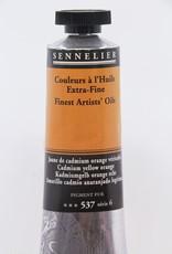 France Sennelier, Fine Artists' Oil Paint, Cadmium Yellow Orange, 537, 40ml Tube, Series 6