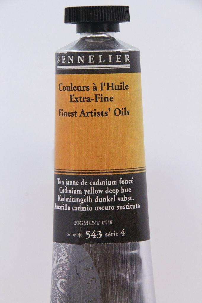 France Sennelier, Fine Artists' Oil Paint, Cadmium Yellow Deep Hue, 543, 40ml Tube, Series 4