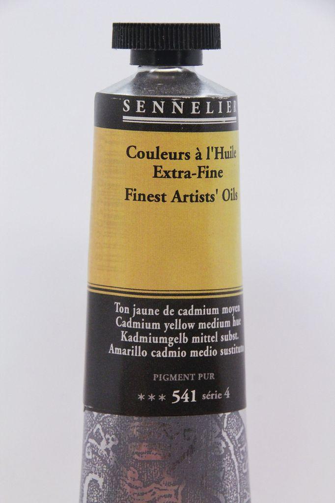 France Sennelier, Fine Artists' Oil Paint, Cadmium Yellow Medium Hue, 541, 40ml Tube, Series 4
